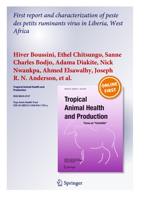 First report and characterization of peste des petits ruminants virus in Liberia, West Africa