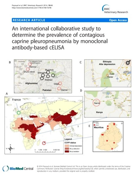 An international collaborative study to determine the prevalence of contagious caprine pleuropneumonia by monoclonal antibody-based cELISA